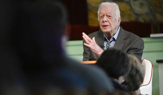 In this Nov. 3, 2019, photo, former President Jimmy Carter teaches Sunday school at Maranatha Baptist Church, in Plains, Ga. (AP Photo/John Amis) **FILE**