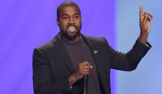 In this Sunday, Nov. 17, 2019, photo, Kanye West answers questions during a service at Lakewood Church, in Houston. (AP Photo/Michael Wyke) **FILE**