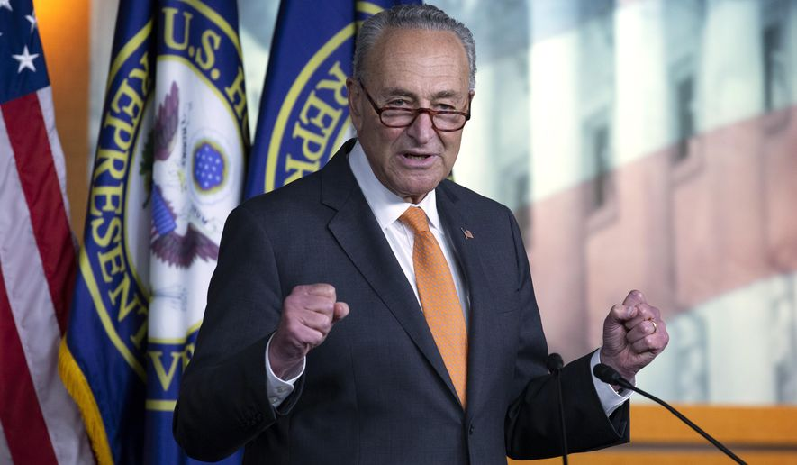 In this file photo, Senate Minority Leader Sen. Chuck Schumer of N.Y., speaks during a news conference on Capitol Hill in Washington, Thursday, Aug. 6, 2020. (AP Photo/Jose Luis Magana)  ** FILE **