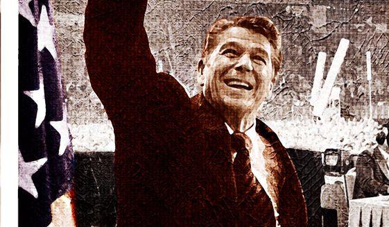 Ronald Reagan illustration by Alexander Hunter / The Washington Times