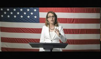 In this image from video, former Rep. Gabrielle Giffords, D-Ariz., speaks during the third night of the Democratic National Convention on Wednesday, Aug. 19, 2020. (Democratic National Convention via AP)