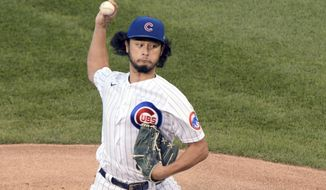 Chicago Cubs starting pitcher Yu Darvish (11) pitches during the first inning of a baseball game against the St. Louis Cardinals Tuesday, Aug. 18, 2020, in Chicago. (AP Photo/Mark Black)
