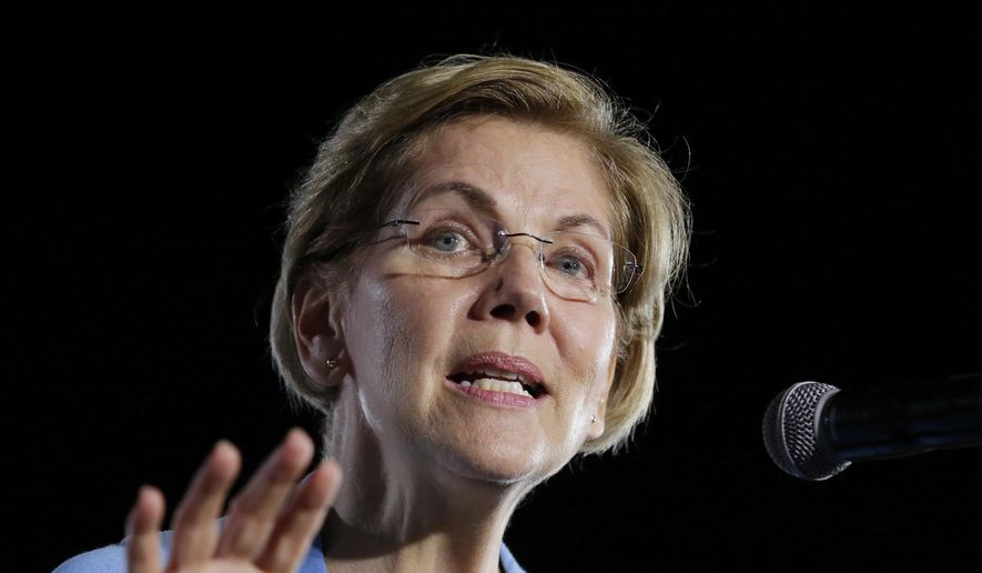 In this Thursday, Feb. 29, 2020, file photo, then-Democratic presidential candidate Sen. Elizabeth Warren, D-Mass., speaks to supporters during a town hall at Discovery Green in Houston. (AP Photo/Michael Wyke, File)