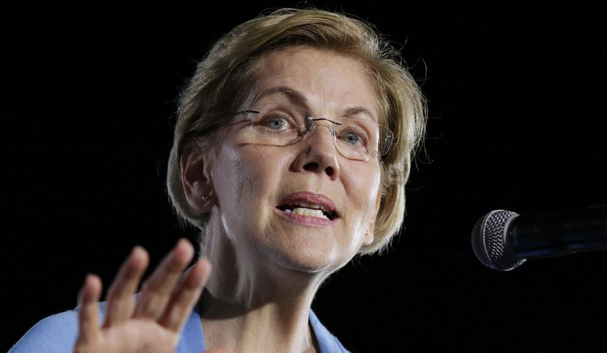 FILE - In this Thursday, Feb. 29, 2020, file photo, then-Democratic presidential candidate Sen. Elizabeth Warren, D-Mass., speaks to supporters during a town hall at Discovery Green in Houston. (AP Photo/Michael Wyke, File)
