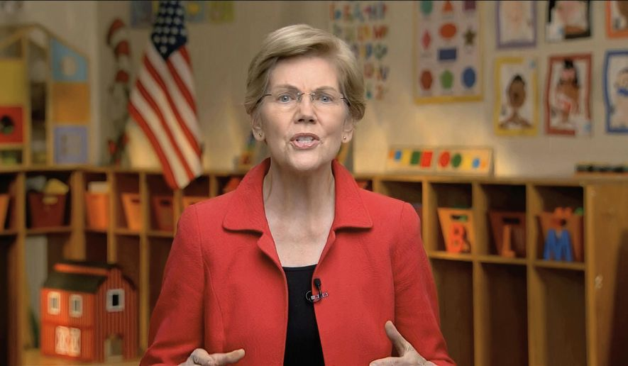 In this image from video, Sen. Elizabeth Warren, D-Mass., speaks during the third night of the Democratic National Convention on Wednesday, Aug. 19, 2020. (Democratic National Convention via AP)  **FILE**