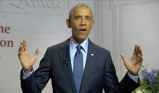 In this image from video, former President Barack Obama speaks during the third night of the Democratic National Convention on Wednesday, Aug. 19, 2020. (Democratic National Convention via AP) ** FILE **