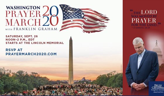 Evangelist Franklin Graham will stage a Prayer March in September through key historic points on the National Mall in Washington, D.C. Participants will stop to pray for the nation at each location. (BILLY GRAHAM EVANGELISTIC ASSOCIATION)