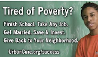 """The Center for Urban Renewal and Education's """"Success Sequence"""" campaign includes billboards urging young people to finish school, get a job and get married. (Image courtesy of CURE)"""
