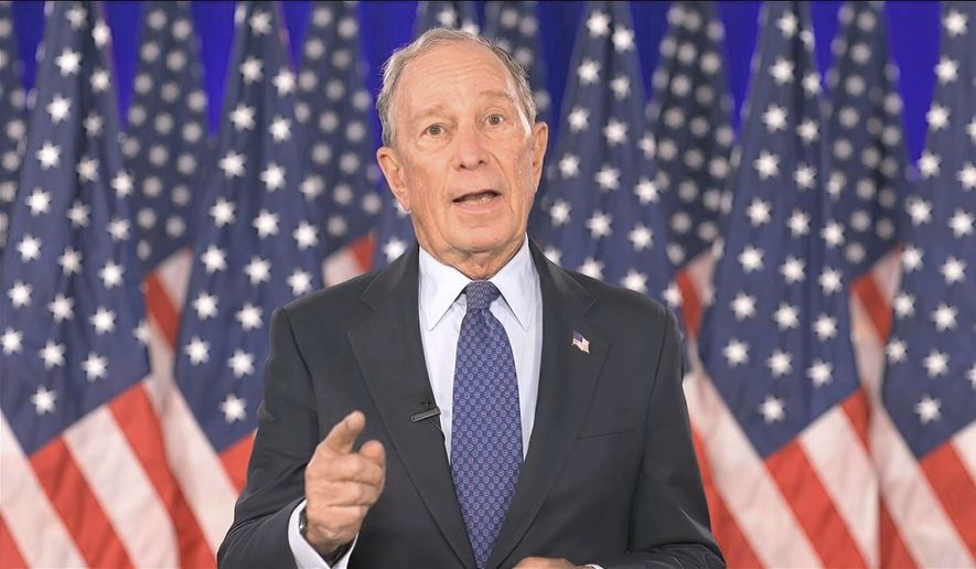In this image from video, former New York City Mayor Michael Bloomberg speaks during the fourth night of the Democratic National Convention on Thursday, Aug. 20, 2020. (Democratic National Convention via AP) ** FILE **