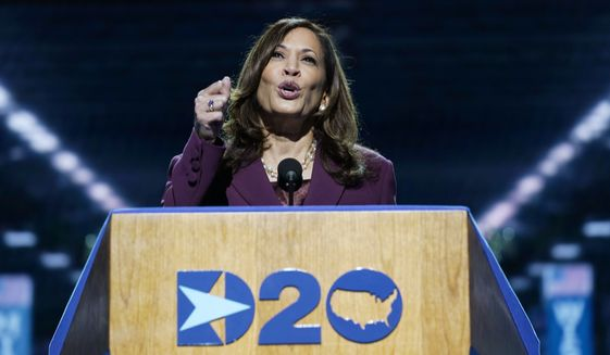 Democratic vice presidential candidate Sen. Kamala Harris, D-Calif., speaks during the third day of the Democratic National Convention, Wednesday, Aug. 19, 2020, at the Chase Center in Wilmington, Del. (AP Photo/Carolyn Kaster)