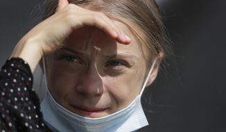 Climate activist Greta Thunberg attends a news conference following a meeting with German Chancellor Angela Merkel in Berlin, Germany, Thursday, Aug. 20, 2020. (AP Photo/Markus Schreiber)