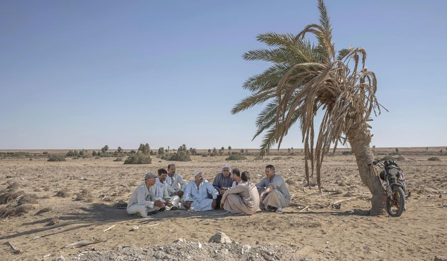 """55-year-old Egyptian farmer Makhluf Abu Kassem, center, sits with farmers under shade of a dried up palm tree surrounded by barren wasteland that was once fertile and green, in Second Village, Qouta town, Fayoum, Egypt, Wednesday, Aug. 5, 2020. Abu Kassem fears that a dam Ethiopia is building on the Blue Nile, the Nile's main tributary, could add to the severe water shortages already hitting his village if no deal is struck to ensure a continued flow of water. """"The dam means our death,"""" he said. (AP Photo/Nariman El-Mofty)"""