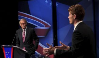 Sen. Edward Markey, left, and Rep. Joseph P. Kennedy III, both D-Mass., take part in the final debate before the Democratic primary, Tuesday, Aug. 18, 2020, in Needham, Mass. (Barry Chin/The Boston Globe via AP, Pool)