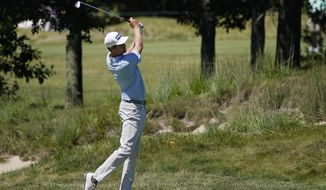 HarrisEnglish hits from the fairway on the 15th hole in the first round of the Northern Trust golf tournament at TPC Boston, Thursday, Aug. 20, 2020, in Norton, Mass. (AP Photo/Charles Krupa)  **FILE**