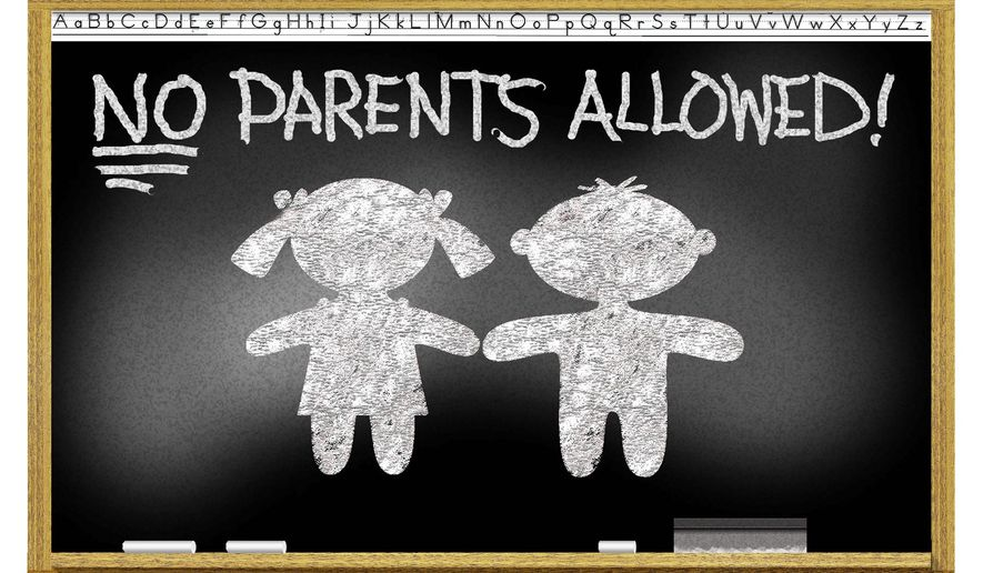Illustration on parent exclusion from schools by Alexander Hunter/The Washington Times