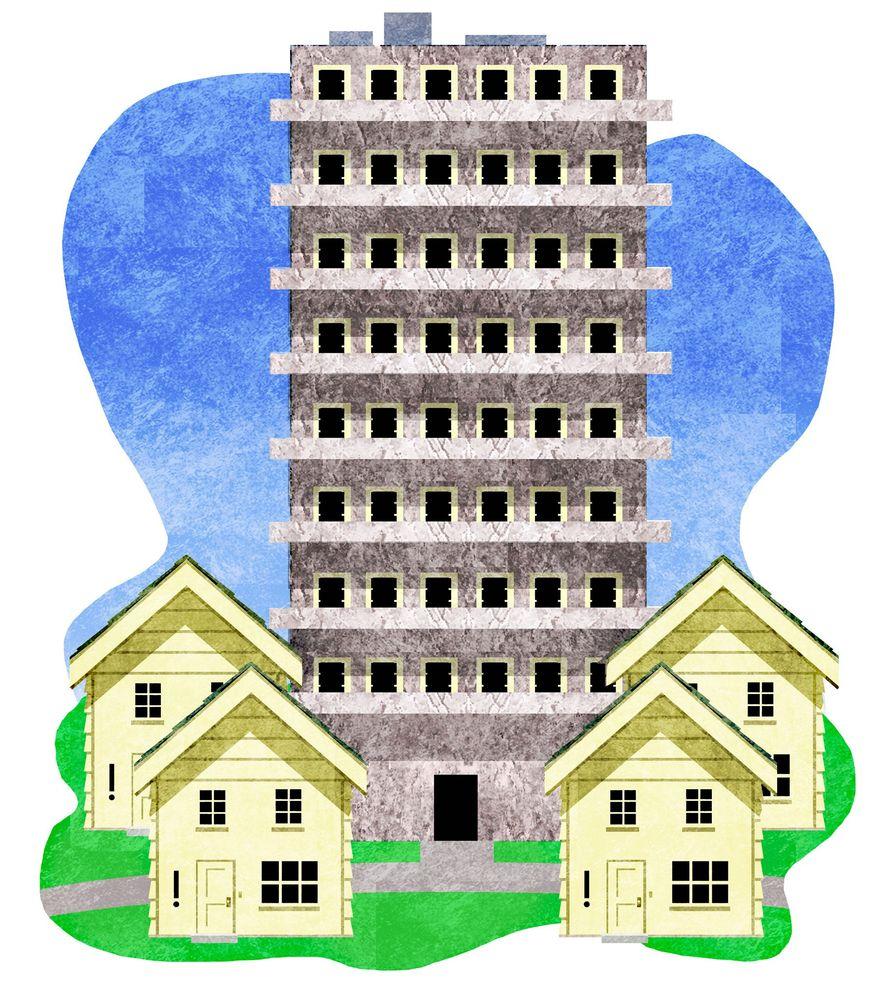 Illustration on the urbanization of suburbia by Alexander Hunter/The Washington Times