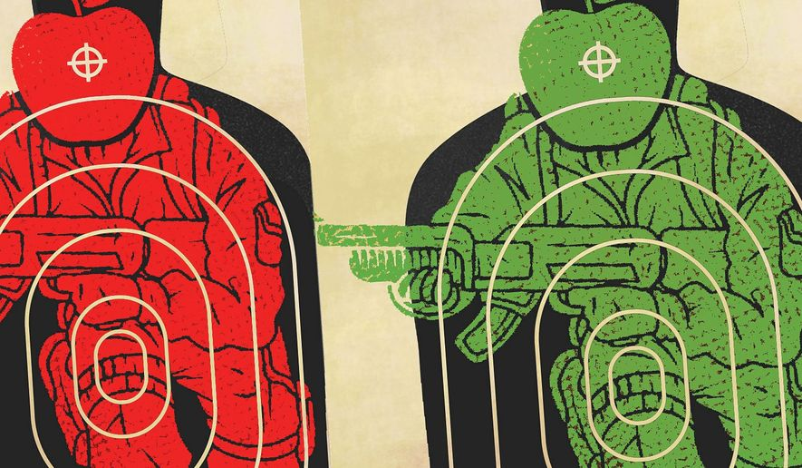 Illustration on targeting education options for veterans by Linas Garsys/The Washington Times