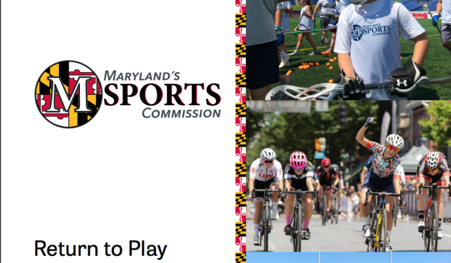 """Depicted is the front cover of Maryland Sports Commission's """"Return to Play"""" report on how to safely, in stages, resume recreational sports (www.marylandsports.us)"""