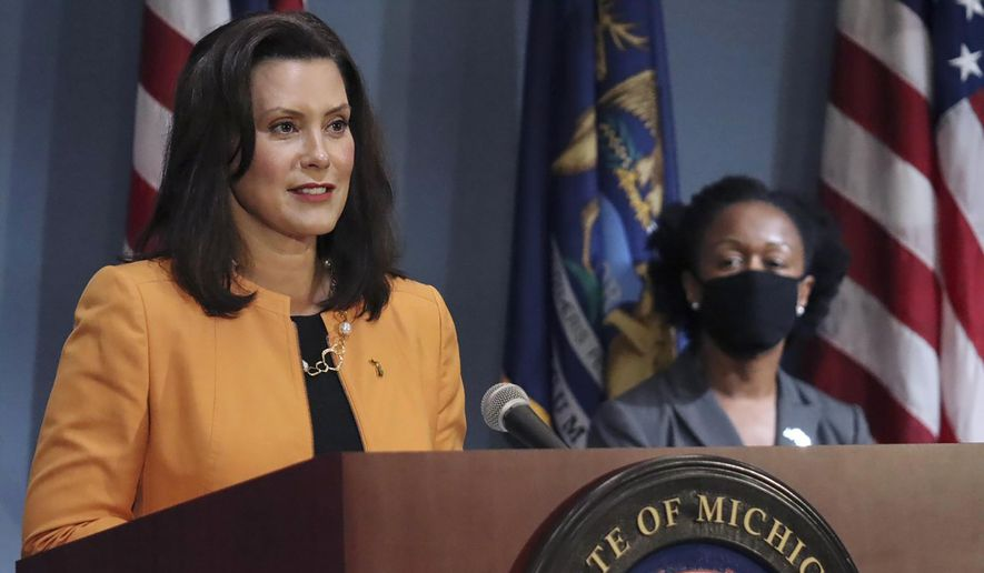 Gov. Gretchen Whitmer addresses the state during a speech in Lansing, Mich. (Michigan Office of the Governor via AP, File)