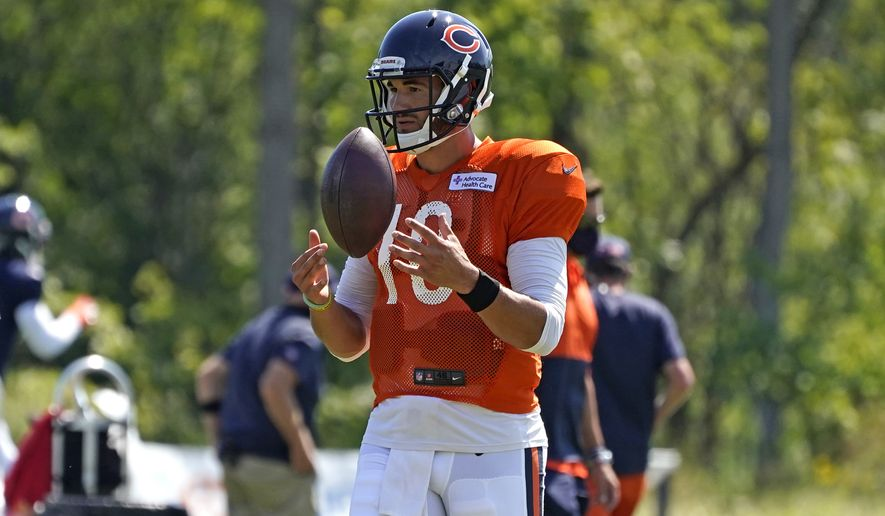 Chicago Bears quarterback Mitchell Trubisky played with a ball during an NFL football camp practice in Lake Forest, Ill., Saturday, Aug. 22, 2020. (AP Photo/Nam Y. Huh)