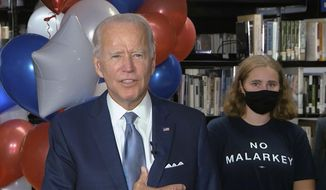 In this image from video, Democratic presidential candidate former Vice President Joe Biden, speaks after the roll call vote during the second night of the Democratic National Convention on Tuesday, Aug. 18, 2020. (Democratic National Convention via AP)