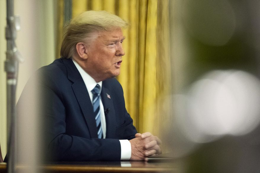 n this March 11, 2020, file photo President Donald Trump addresses the nation from the Oval Office at the White House in Washington.  (AP Photo/Manuel Balce Ceneta, File)  **FILE**