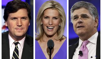 """This combination of photo shows, from left, Tucker Carlson, host of """"Tucker Carlson Tonight,"""" Laura Ingraham, host of """"The Ingraham Angle,"""" and Sean Hannity, host of """"Hannity"""" on Fox News. (AP Photo)"""