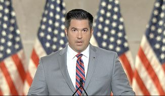 In this image from video, Sean Parnell speaks from Washington, during the first night of the Republican National Convention Monday, Aug. 24, 2020. (Courtesy of the Committee on Arrangements for the 2020 Republican National Committee via AP)