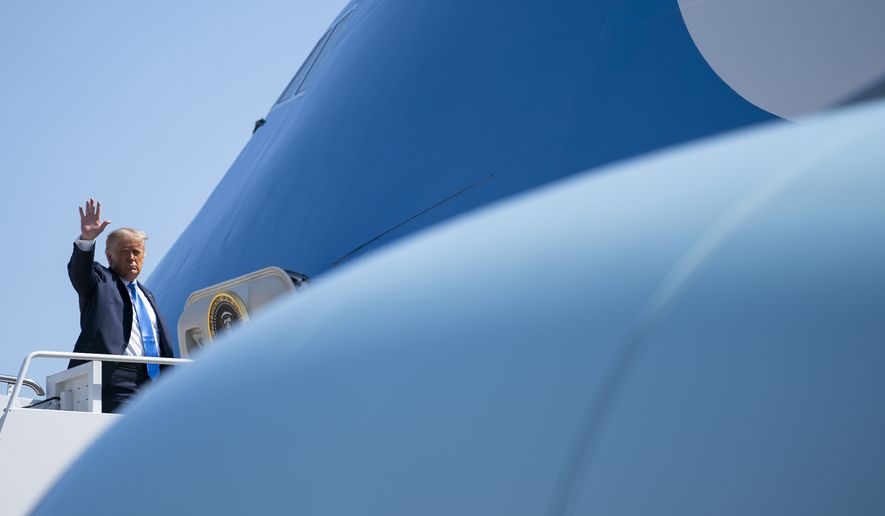 President Donald Trump boards Air Force One for a trip to North Carolina, Monday, Aug. 24, 2020, in Andrews Air Force Base, Md. (AP Photo/Evan Vucci)