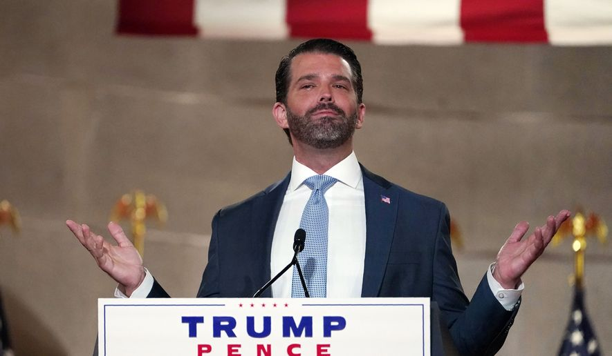 Donald Trump Jr., speaks as he tapes his speech for the first day of the Republican National Convention from the Andrew W. Mellon Auditorium in Washington, Monday, Aug. 24, 2020. (AP Photo/Susan Walsh) ** FILE **