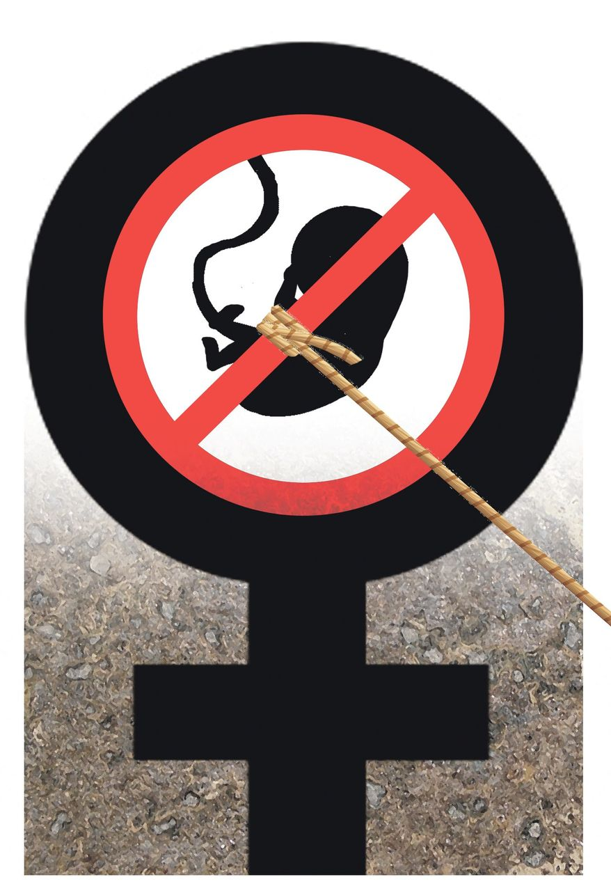 Illustration on opposition to abortion in the women's rights movement by Alexander Hunter