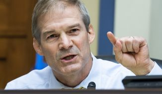 Rep. Jim Jordan, R-Ohio, questions Postmaster General Louis DeJoy during a House Oversight and Reform Committee hearing on the Postal Service on Capitol Hill, Monday, Aug. 24, 2020, in Washington. (Tom Williams/Pool via AP)
