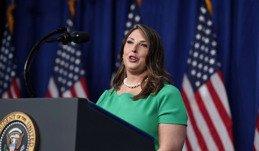 Ronna Romney McDaniel, the chair of the Republican National Committee, speaks during the first day of the Republican National Committee convention Monday, Aug. 24, 2020, in Charlotte. (AP Photo/Evan Vucci) ** FILE **