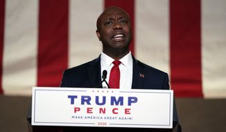 Sen. Tim Scott, R-S.C., speaks during the first night of the Republican National Convention from the Andrew W. Mellon Auditorium in Washington, Monday, Aug. 24, 2020. (AP Photo/Susan Walsh)