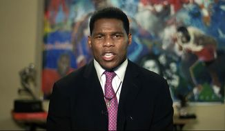 In this image from video, Herschel Walker speaks from Westlake, Texas, during the first night of the Republican National Convention Monday, Aug. 24, 2020. (Courtesy of the Committee on Arrangements for the 2020 Republican National Committee via AP)