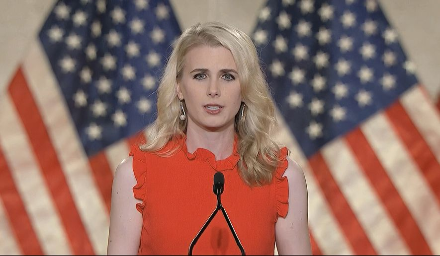 In this image from video, Natalie Harp speaks from Washington, during the first night of the Republican National Convention Monday, Aug. 24, 2020.(Courtesy of the Committee on Arrangements for the 2020 Republican National Committee via AP)