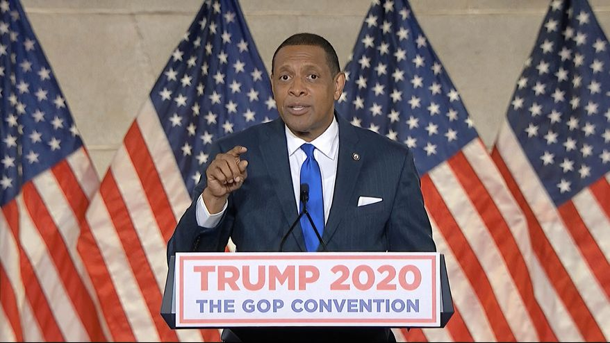 In this image from video, Georgia State Rep. Vernon Jones speaks from Washington, during the first night of the Republican National Convention Monday, Aug. 24, 2020. (Courtesy of the Committee on Arrangements for the 2020 Republican National Committee via AP)