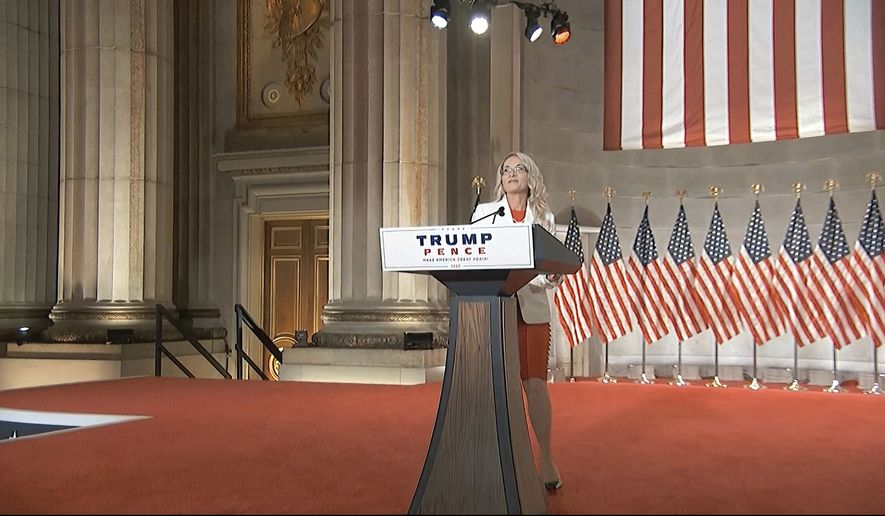 In this image from video, Rebecca Friedrichs speaks during the first night of the Republican National Convention on Monday, Aug. 24, 2020. (Courtesy of the Committee on Arrangements for the 2020 Republican National Committee via AP)