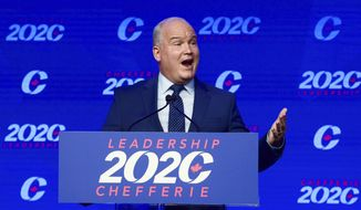 Conservative Party of Canada Leader Erin O'Toole speaks after his win at the 2020 Leadership Election in Ottawa, Ontario, Sunday, Aug. 23, 2020. (Sean Kilpatrick/The Canadian Press via AP) **FILE**
