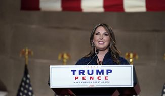 Republican National Committee Chairwoman, Ronna McDaniel, speaks during the Republican National Convention from the Andrew W. Mellon Auditorium in Washington, Monday, Aug. 24, 2020. (AP Photo/Susan Walsh) ** FILE **