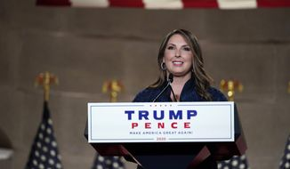 Republican National Committee Chairwoman, Ronna McDaniel, speaks during the Republican National Convention from the Andrew W. Mellon Auditorium in Washington, Monday, Aug. 24, 2020. (AP Photo/Susan Walsh)
