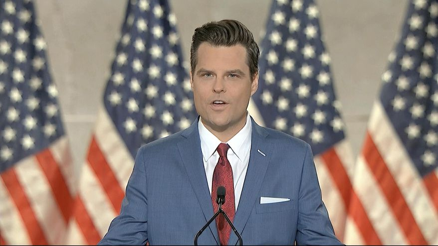 In this image from video, Rep. Matt Gaetz, R-Fla., speaks from Washington, during the first night of the Republican National Convention Monday, Aug. 24, 2020.(Courtesy of the Committee on Arrangements for the 2020 Republican National Committee via AP)