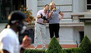 Mark and Patricia McCloskey emerged from their St. Louis mansion with guns after protesters walked onto their private street, June 28, 2020. (Laurie Skrivan/St. Louis Post-Dispatch via AP) ** FILE **