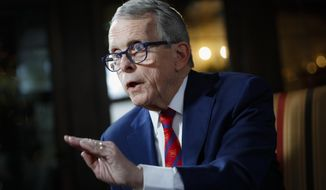 In this Dec. 13, 2019, file photo, Ohio Gov. Mike DeWine speaks at the Governor's Residence in Columbus, Ohio. Far-right GOP House lawmaker Rep. John Becker from Cincinnati, said in a release Monday, Aug. 24, 2020, that he has drafted 10 articles of impeachment against fellow Republican DeWine over his handling of the state's response to the coronavirus pandemic. (AP Photo/John Minchillo, File)