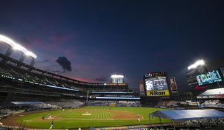 The Washington Nationals play the New York Mets during the third inning of a baseball game at Citi Field Wednesday, Aug. 12, 2020, in New York. (AP Photo/Frank Franklin II)
