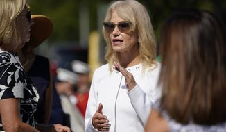 Kellyanne Conway attends an event for an exhibit of artwork by young Americans in celebration of the 100th anniversary of the 19th amendment which afforded the vote to women, in front of the White House in Washington, Monday, Aug. 24, 2020. (AP Photo/J. Scott Applewhite)