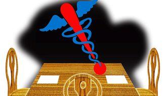 Illustration on arbitration for surprise medical billing by Alexander Hunter/The Washington Times