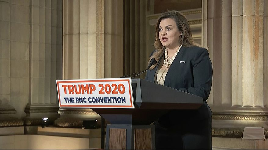 In this image from video, Abby Johnson speaks from Washington, during the second night of the Republican National Convention on Tuesday, Aug. 25, 2020. (Courtesy of the Committee on Arrangements for the 2020 Republican National Committee via AP)