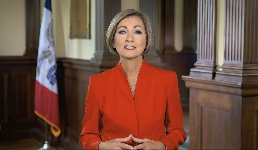 In this image from video, Iowa Gov. Kim Reynolds speaks from Des Moines, Iowa, during the second night of the Republican National Convention on Tuesday, Aug. 25, 2020. (Courtesy of the Committee on Arrangements for the 2020 Republican National Committee via AP)