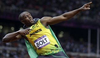 FILE - In this Sunday, Aug. 5, 2012, file photo, Jamaica's Usain Bolt reacts to his win in the men's 100-meter final t the 2012 Summer Olympics in London.(AP Photo/Anja Niedringhaus, File)